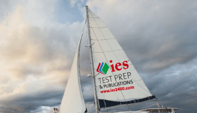 Sailboat with IES Test Prep on the sail
