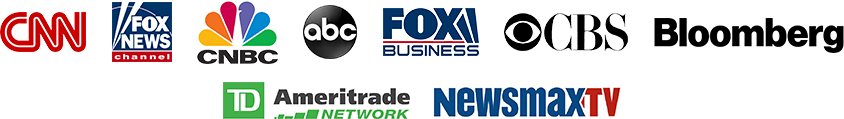 TV station logos including CNN Fox News CNBC ABC CBS Bloomberg Fox Business NewsMax and Ameritrade Network